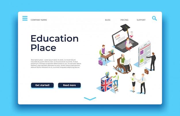 Página de destino da educação. pessoas isométricas aprendendo com ebooks smatphones e laptops. rede
