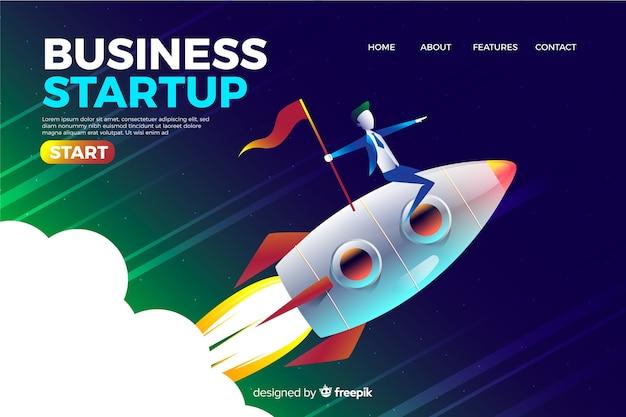Página de destino da empresa com foguete