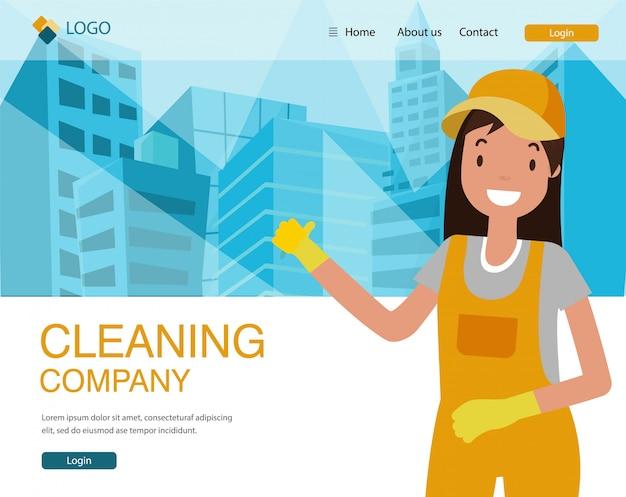 Página de destino da empresa de limpeza, mulher de uniforme.