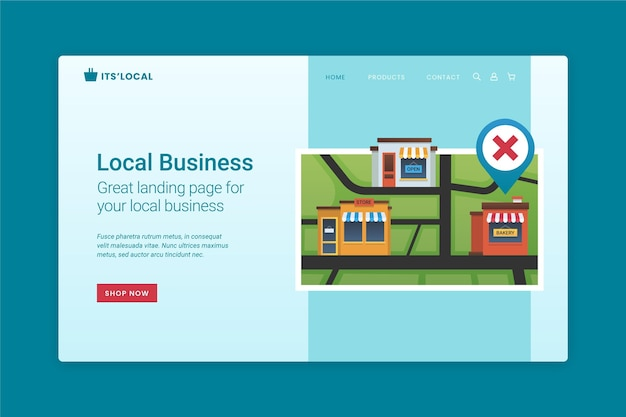Página de destino da empresa local