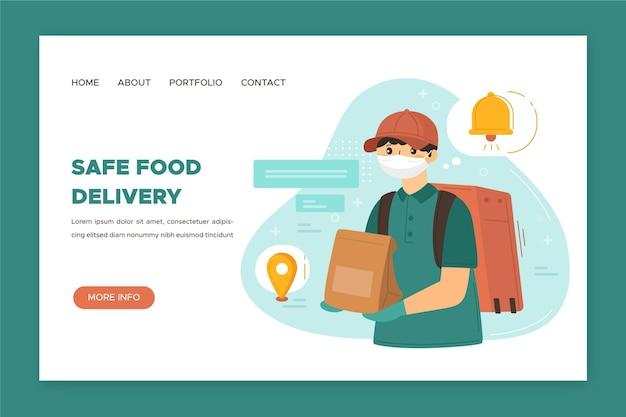 Página de destino da entrega segura de alimentos