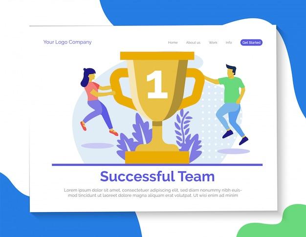Página de destino da equipe bem-sucedida