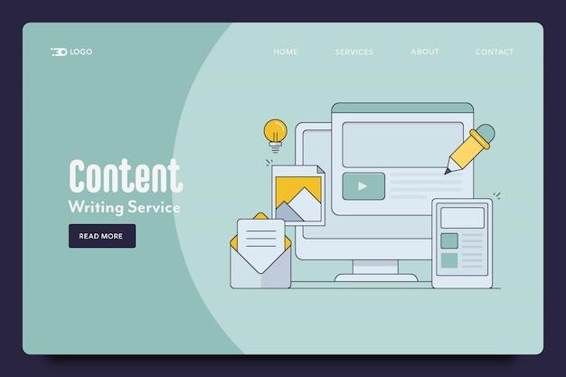 Página de destino da escrita de conteúdo