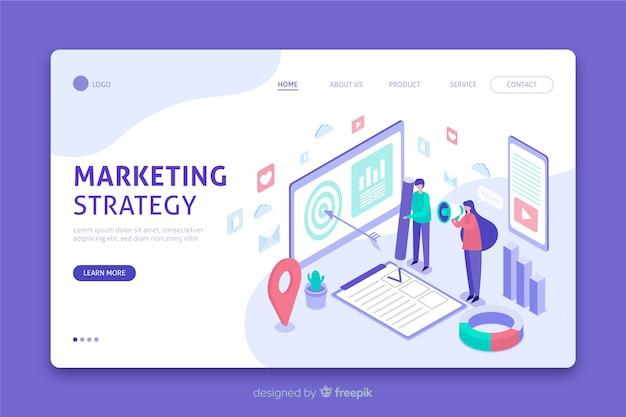Página de destino da estratégia de marketing em design isométrico