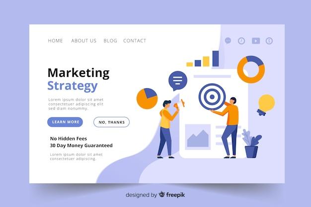Página de destino da estratégia de marketing