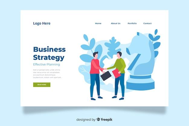 Página de destino da estratégia de negócios minimalista