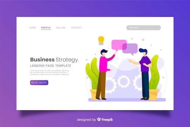 Página de destino da estratégia de negócios