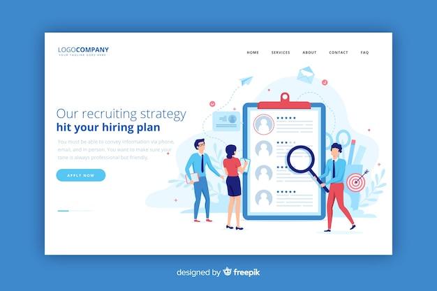 Página de destino da estratégia de recrutamento