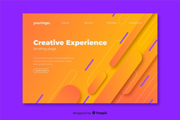 Página de destino da experiência criativa com fundo geométrico
