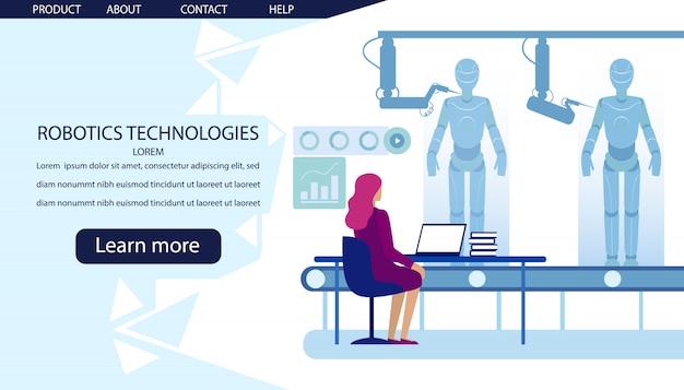 Página de destino da fabricação de tecnologias robóticas