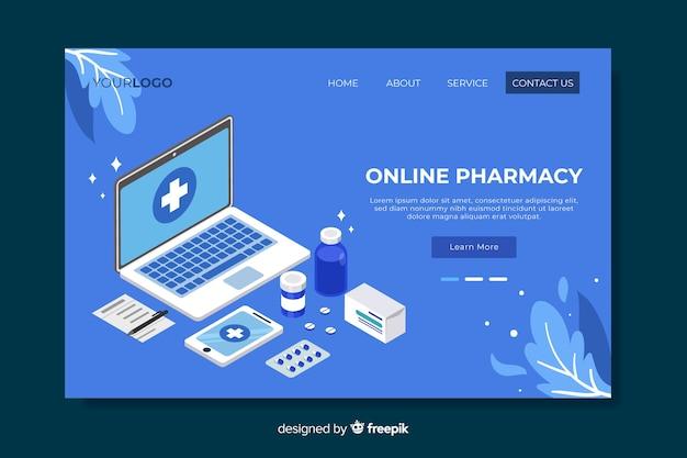 Página de destino da farmácia azul