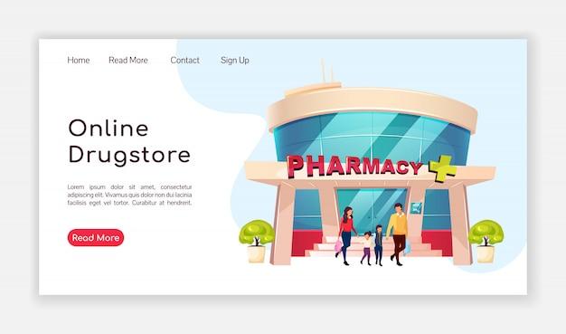 Página de destino da farmácia on-line