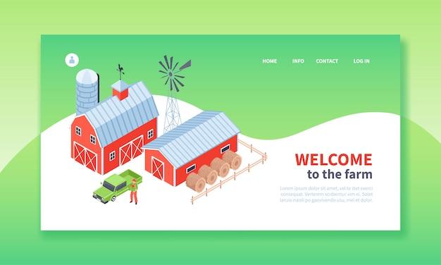 Página de destino da fazenda isométrica