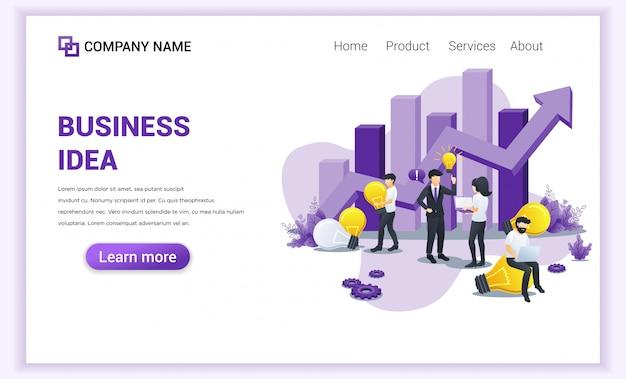 Página de destino da ideia criativa de negócios.