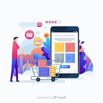 Página de destino da ideia de aplicativo de compra