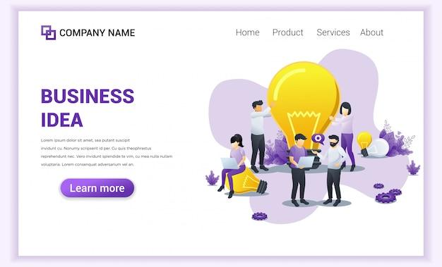 Página de destino da ideia de negócio.