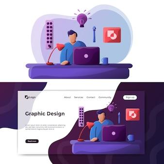 Página de destino da ilustração de design gráfico