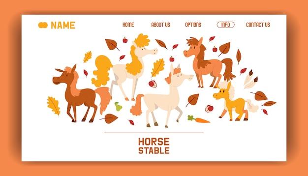 Página de destino da ilustração plana estável dos desenhos animados de fazenda cavalo.
