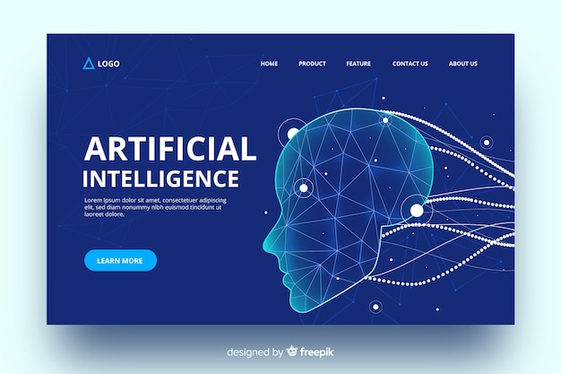 Página de destino da inteligência artificial com cabos virtuais