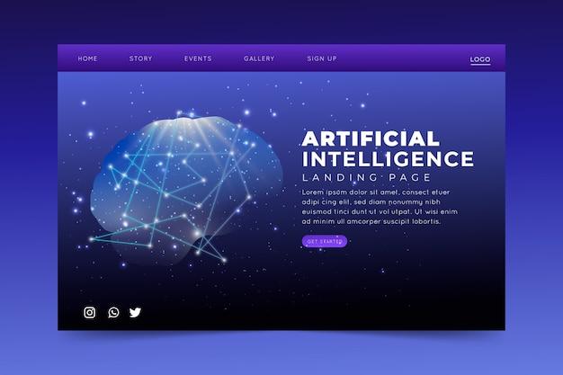 Página de destino da inteligência artificial do modelo