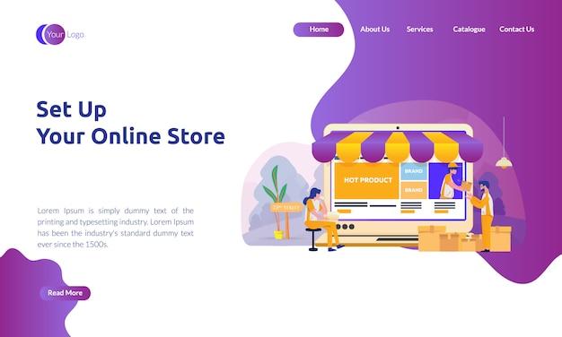 Página de destino da loja on-line configurar