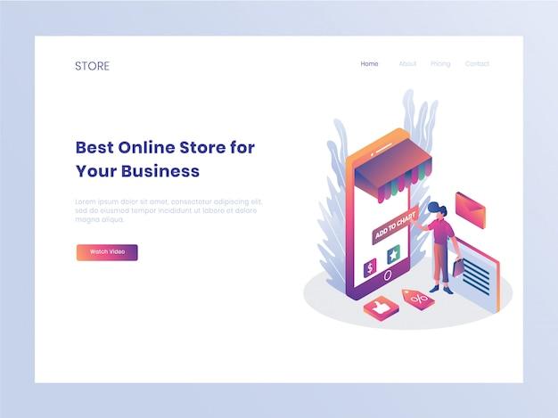 Página de destino da loja on-line de comércio eletrônico