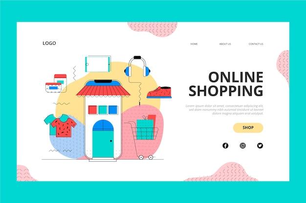 Página de destino da loja on-line e do carrinho de compras