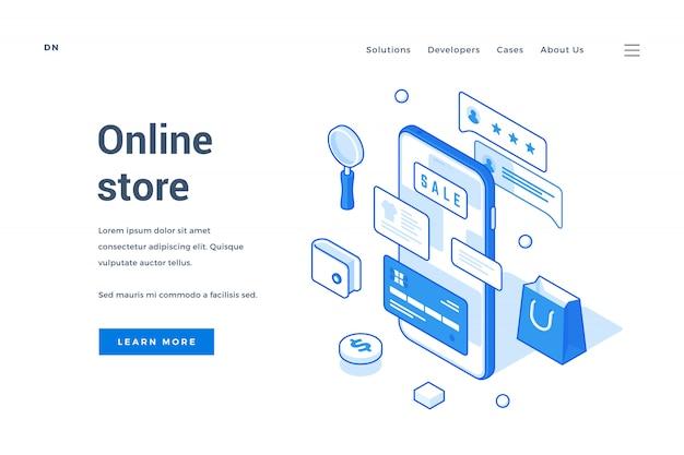 Página de destino da loja online