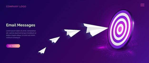 Página de destino da mensagem de e-mail