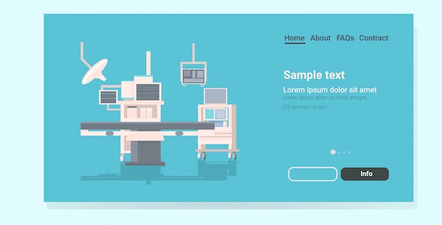Página de destino da mesa cirúrgica do hospital e dos dispositivos médicos