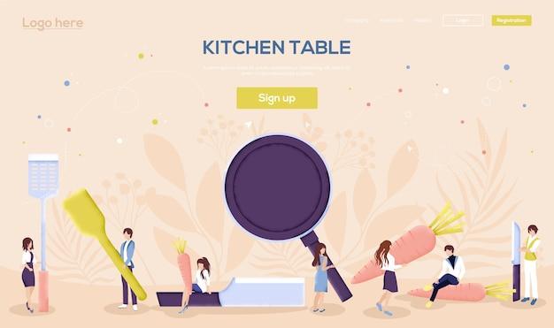 Página de destino da mesa da cozinha