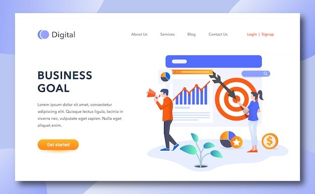Página de destino da meta de negócios criativos