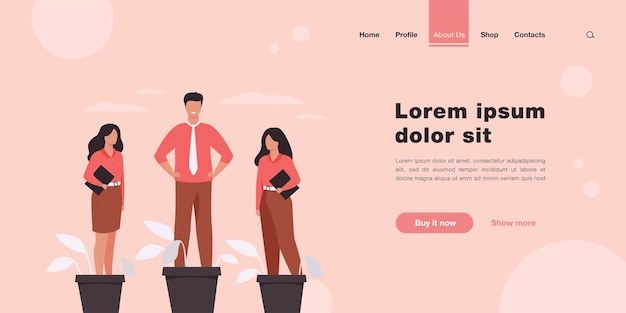 Página de destino da metáfora dos profissionais de negócios em crescimento do empregador em estilo simples