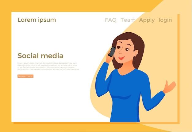 Página de destino da mídia social com garota falando usando o smartphone e segurando a mão