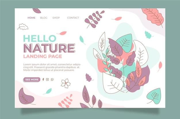 Página de destino da natureza desenhada à mão do modelo