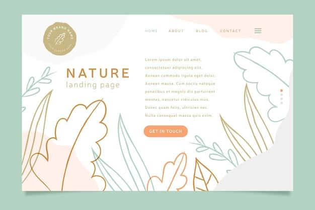 Página de destino da natureza desenhada à mão