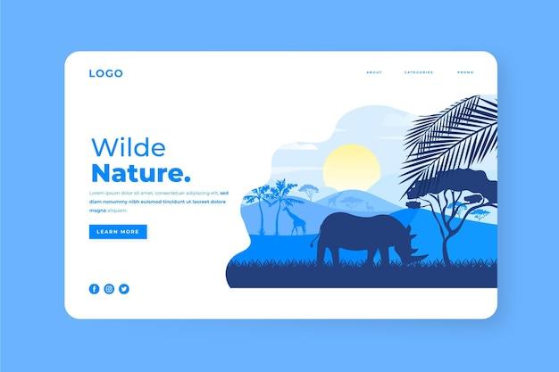 Página de destino da natureza selvagem ilustrada