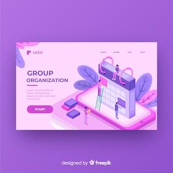 Página de destino da organização do grupo