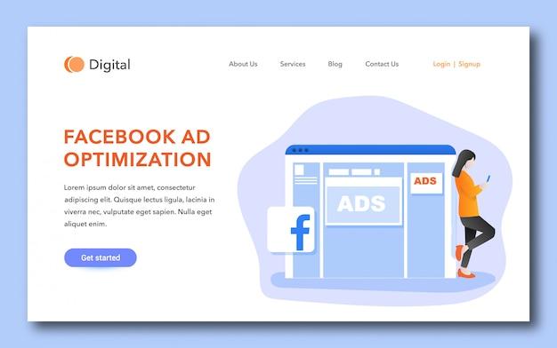 Página de destino da otimização de anúncios do facebook