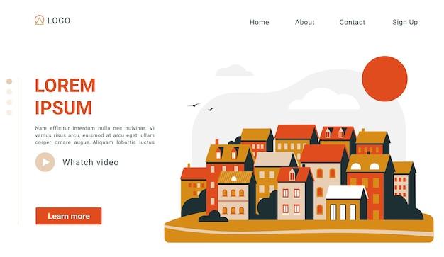Página de destino da paisagem urbana simples cena do pôr do sol da cidade com casas laranjas