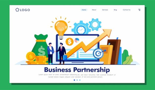 Página de destino da parceria de negócios
