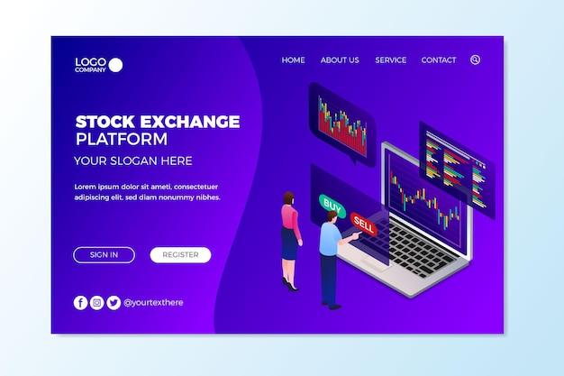 Página de destino da plataforma da bolsa de valores