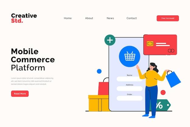 Página de destino da plataforma de comércio móvel para o conceito do site