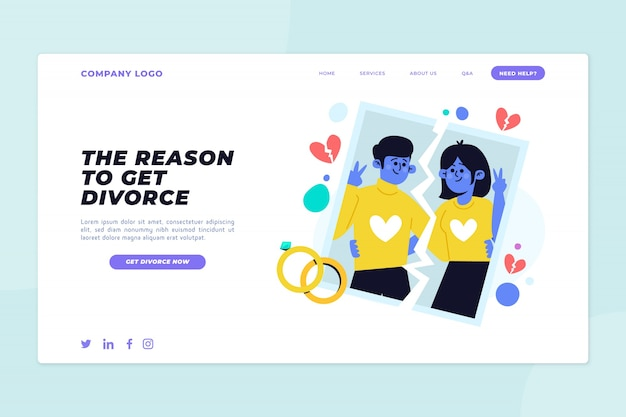 Página de destino da plataforma de divórcio