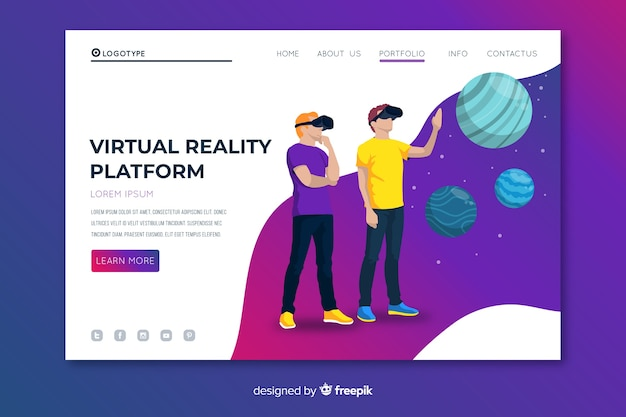 Página de destino da plataforma de realidade virtual