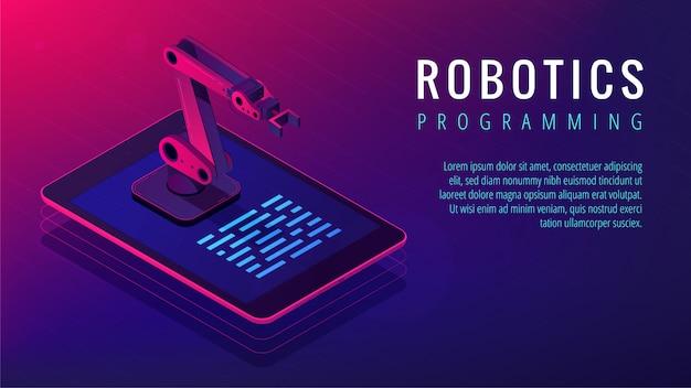 Página de destino da programação de robótica isométrica