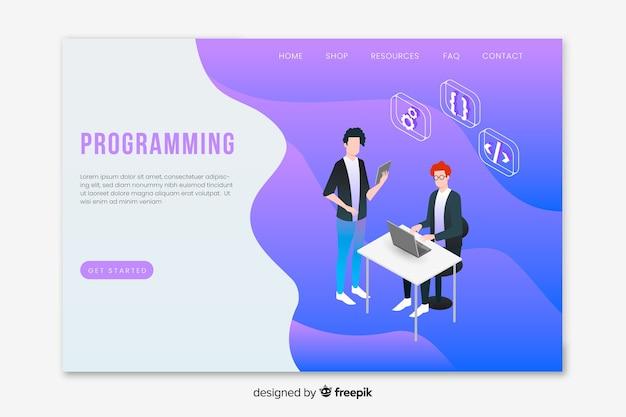 Página de destino da programação isométrica