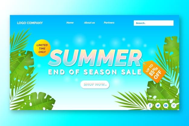 Página de destino da promoção de verão no final da temporada