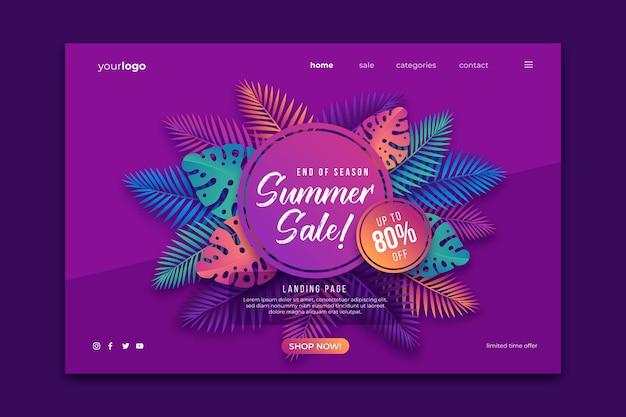 Página de destino da promoção de verão no final da temporada Vetor grátis