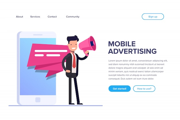 Página de destino da publicidade para celular